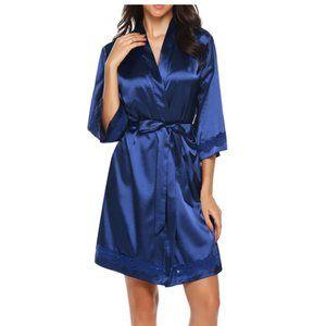 NEW! Sexy Lace Trim Silky Satin Kimono Robe